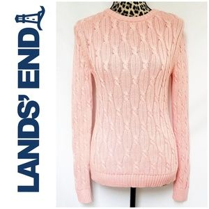 Lands' End Drifter Soft Pink Cable Knit Sweater
